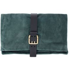 Dsquared2 Suede Leather Clutch with belt (£130) ❤ liked on Polyvore featuring bags, handbags, clutches, green, blue clutches, suede purse, blue purse, blue shoulder bag and handbag purse