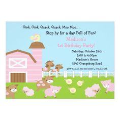 Girls Barn Animal Fun Birthday Party Invitation