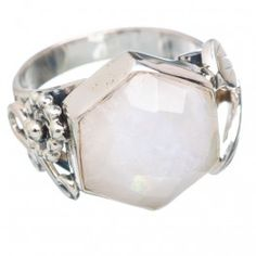 925 SOLID STERLING FINE SILVER RAINBOW MOONSTONE RING