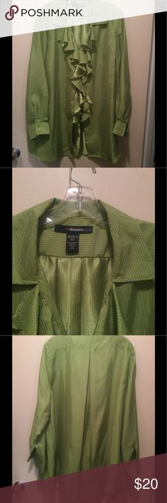 NWOT . . . LIME GREEN BLOUSE . . . Lime Green Ruffled Blouse that has shimmers in the lines . . . Can See in pics . . . Can be worn either Dressy or Causal, depending on pants . . . Great find, needs a new home . . . Never worn . . . Being a Diva 👨‍🎤 is hard, you're always buying & never wearing  . . . Great Find. . . Denim 24/7 Tops Blouses