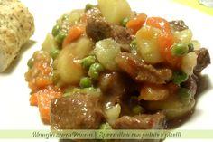 Spezzatino con patate e piselli, ricetta piatto unico