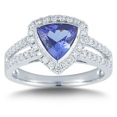Trillion Tanzanite & Diamond Ring Platinum
