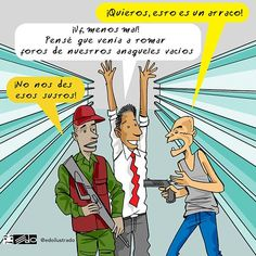 Caricatura @edoilustrado: El atraco y los anaqueles #AnaquelesVaciosEnVenezuela
