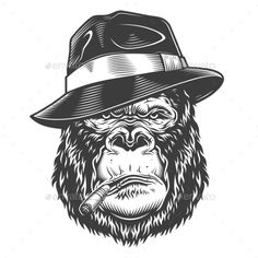 Buy Gorilla Head in Monochrome Style by imogi on GraphicRiver. Gorilla head in monochrome style. Griffon Tattoo, Caveira Mexicana Tattoo, Vector Design, Logo Design, Gorilla Tattoo, Monkey Tattoos, Unique Poster, Monochrome Fashion, Photos For Sale