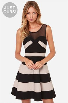 4227cb444b73 LULUS Exclusive Swing and Shout Beige and Black Striped Dress at LuLus.com!  Striped