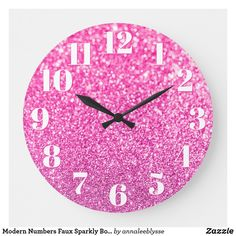 Modern Numbers Faux Sparkly Bokeh Pink Glitter Large Clock