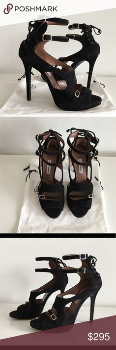 "TABITHA SIMMONS BAILEY BLACK SUEDE  SANDALS TABITHA SIMMONS BAILEY BLACK SUEDE  HIGH HEEL SANDALS, SIZE 37.5, COVERED HEIGHT HEEL 4.5"", HIDDEN PLATFORM 0.50"", PEEP-TOE AND CUT-OUT DETAIL FRONT STRAP WITH DOUBLE BUCKLE FASTENING ANKLE STRAP AND A BLACK SUEDE LACE-UP CORSETED IN BACK, MADE IN ITALY, BRAND NEW WITH TWO INDIVIDUAL DUST BAG, NO BOX tabitha simmons Shoes Sandals"