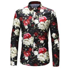 78dea726a4f Men Retro Flower Shirts 2018 New Fashion Design Casual Shirt Skulls Roses  Flowers Print Social Long Sleeves Slim Fit Shirt