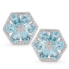 JENNIFER YAMINA EARRINGS: 14k white gold staple earring with white diamonds and pear shape blue topaz stone.