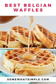 This Belgian waffle recipe is the best you'll ever fine. The recipe is very easy to make and the waffles turn out thick and fluffy every time! The best part is that you can make an extra batch of these homemade waffles and freeze them so you can have this delicious breakfast all week long. Best Belgian Waffle Recipe, Best Waffle Recipe, Waffle Maker Recipes, Egg Recipes For Breakfast, Best Breakfast, Breakfast Ideas, Breakfast Club, Homemade Waffles, Belgian Waffles