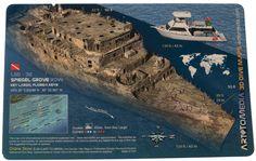 Art To Media Wreck Dive Site Map, Spiegel Grove Bow, Key Largo, FL