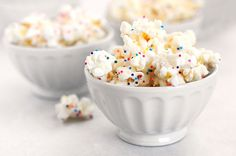 white chocolate popcorn (with sprinkles!)