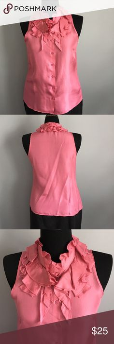 Kenar size M pink silk blouse with ruffled collar Stunning 100% silk blouse with a beautiful ruffled collar element in a pink or mauve color. Made by Kenar. Can be washed or dry cleaned. In excellent condition. No rips, tears, or stains. Kenar Tops Blouses