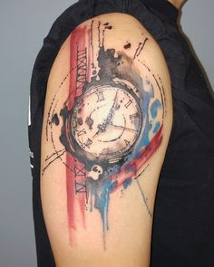 Watercolor Clock Tattoo by Siobhan Alexander