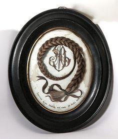 """Extra Large 13.5"""" x 11.25"""" Oval French Frame, Antique Hair Art Memento, Mourning Icon, Full Braid"""