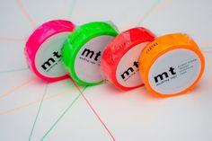 MT tape in fluor rood roze oranje en groen door MissHoneyBird