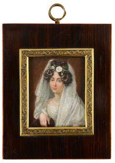 Joseph Sonntag (1784-1834) Portrait d'une jeune aristocrate polonaise. Miniature rectangulaire peinte sur ivoire, signée à droite et datée 1833,