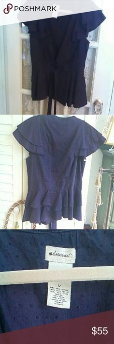 Anthropologie Elevenses Blouse Beautiful deep purple peplum blouse/cardigan. Pleated puffy sleeves. 100% cotton. Lining is dotted Swiss. Size 12. Wore this only once. Excellent condition. Beautifully detailed. Anthropologie Tops Blouses