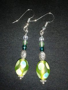 Silver plated green oval earrings
