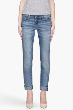 CURRENT/ELLIOTT //  FADED BLUE THE ROLLED SKINNY LOW RISE JEANS