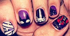 My #halloween #nails #nailart #naildesigns #cats #spiders