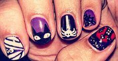 My #halloween #nails #nailart #naildesigns #cats #spiders