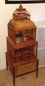 "Vintage 1970's Beautiful Rattan Wood Bird Cage 55"" Tall Amazing Wooden House"