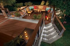 Modern backyard patio deck ideas with lighting