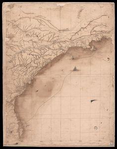 """Este mapa mostra a Ilha de São Sebastião (atual Ilha Bela), os rios Paraibuna, Paraitinga e Paraíba """"este rio vai fazer barra nos Campos dos Goytacazes"""", a vila de Lorena, de onde parte o """"caminho do sertão para o Rio de Janeiro"""", a vila de Guaratinguetá, de onde parte o """"caminho da boiada para o Rio de Janeiro"""", as vilas de Pindamonhangaba, Taubaté e Jacareí, a serra da Mantiqueira, Mogi das Cruzes, o rio Tietê, Nossa Senhora da Ajuda, São Miguel, a cidade de São Paulo, São José de…"""