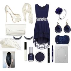 """""""Navy and Cream Lacy Dress:)"""" by nkurtz on Polyvore"""