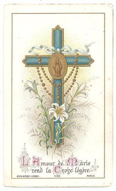 Cross with Lilies & Rosary Antique French Holy Prayer Card, Catholic Gift, Goldprint Miraculous, Gold Ink, Metallic Gold, Patron Saint Of Animals, Catholic Gifts, Prayer Cards, Patron Saints, Blessed Mother, Vintage Paper