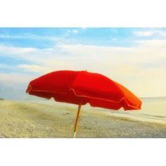 Highland Dunes 'Captiva Red Umbrella' Photographic Print on Canvas