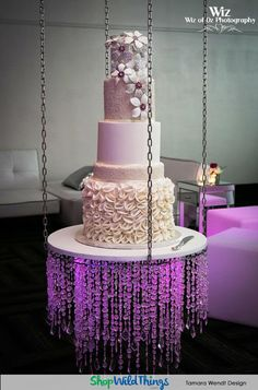 Are you a bride (or a new event planner) with a million ideas and a lot of square footage, but not with unlimited funds Amazing Wedding Cakes, Elegant Wedding Cakes, Wedding Cake Designs, Trendy Wedding, Cake Table Decorations, Wedding Decorations, Suspended Wedding Cake, Chandelier Cake Stand, Luxury Wedding Cake