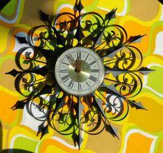 Vtg Mid Century Modern Welby Black Spanish Wrought Iron Starburst Wall Clock   eBay