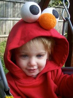 Elmo Halloween costume. Just need a red hoodie and 3 styrofoam balls.
