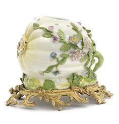A Meissen potpourri vase in the form of a squash with Louis XV ormolu mount, circa 1745-50