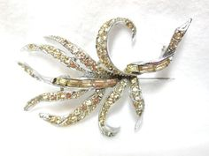 Ribbons PELL Brooch Baguette and round Crystal by JewlsinBloom