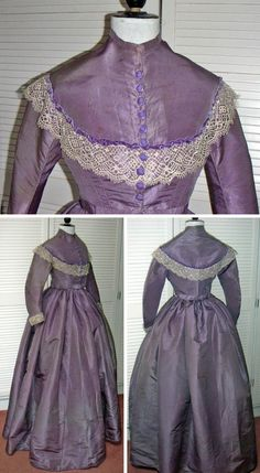 Day dress, probably British, mid-1860s. Hand-sewn silk with Bedfordshire-style bobbin lace on bodice yoke and cuffs. Fitted bodice, not boned, with narrow standup collar, lined in white cotton sateen. Yoke also trimmed with narrow velvet ribbon in a folded line next to lace. Decorative fabric buttons on the front. Curved tapered sleeves. Very full skirt, lined in stiff cotton; hem strengthened with band of cotton sateen. One pocket in side seam. Textiles Stuff/Antiques Atlas