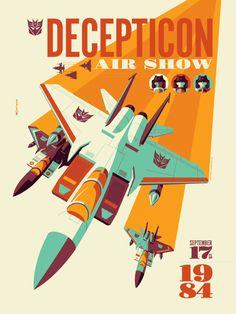 "Acidfree Gallery - ""Decepticon Air Show"" Transformers Standard Edition Screen Print by Tom Whalen"