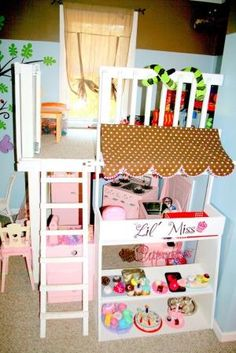 For a small space! Playroom Idea! Reading Nook on top & play area below. Something similar for built-in bed space in basement. by tommie