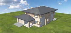 Projekt domu Karat 157,99 m2 - koszt budowy - EXTRADOM Modern Family House, Mediterranean Homes, Bungalow, Gazebo, House Plans, Outdoor Structures, House Design, Sims 4, Inspiration