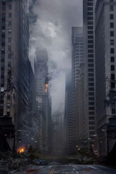 Chicago in ruins, hard work has clearly gone into creating this concept art and would be a great influence for a Zombie outbreak/apocalypse. Apocalypse Aesthetic, Apocalypse Art, Cyberpunk, Art Sombre, Post Apocalyptic City, Wattpad Background, Travel Photographie, Matte Painting, End Of The World