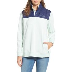 Women's Vineyard Vines Shep Contrast Quilted Pullover ($135) ❤ liked on Polyvore featuring tops, sweaters, crystal blue, layered sweater, pullover sweaters, white top, white sweater and blue sweater