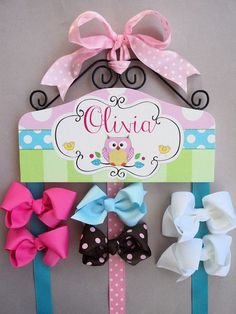 HAIR BOW HOLDER - Personalized - Owl HairBow Holder - organizer for Bows - Owl Bow and Clip hanger Personal Pink Green Turquoise Blue. $49.95, via Etsy.