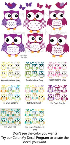 6 Purple Owl Sticker Girl Owl Wall Decals 6 by NurseryDecalsNMore2, $19.99