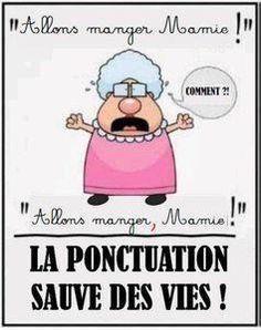 La ponctuation sauve des vies ! Let's go eating Grannie / Let's go eating, Grannie. Ponctuation saves lifes!!!