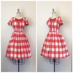 50s Red and White Checkered Day Dress / by CheshireVintageShop