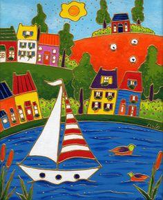 En voilier à Québec par Isabelle Malo • Acrylique sur toile et collage • Mixed media • Folk art  • www.isamalo.com • Artiste peintre du Québec •Art naïf