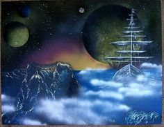 provocative-planet-pics-please.tumblr.com Forgotten Cove Sold #spraypaint #SprayArt #Spray #art #planets #moon #space #galaxy #sunset #ship #fog #mist #cove by celestialhazeart https://www.instagram.com/p/BBs_NFNRF-J/