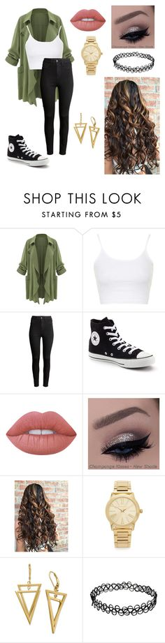 """Untitled #65"" by paigevjacobs on Polyvore featuring Topshop, H&M, Converse, Lime Crime and Michael Kors"
